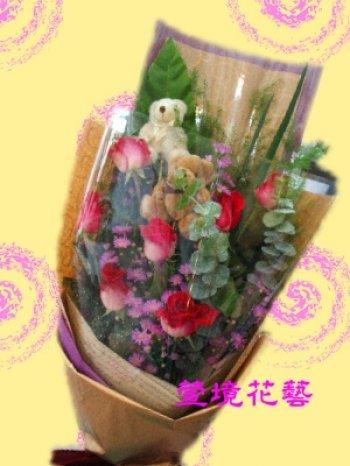 包装规格: 40*60          备注说明: 可爱的小熊躲在玫瑰花